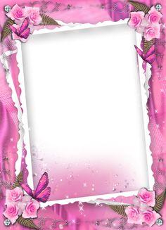 Transparent pink wedding frame with roses Boarders And Frames, Page Borders Design, Printable Frames, Art Carte, Photo Frame Design, Scrapbook Frames, Birthday Frames, Frame Background, Frame Clipart