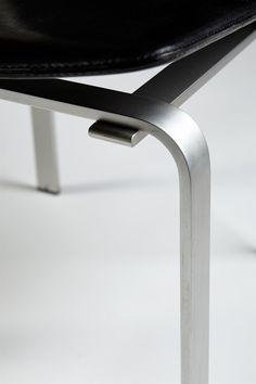 Set of dining chairs designed by Jörgen Höj for Johannes Hansen, Denmark. 1962. Leather and aluminium.