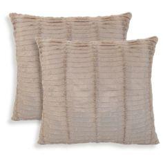 "Essentials Oracle Fur Throw Pillow - 2 Pack - Tan (20"" x 20"") : Target"