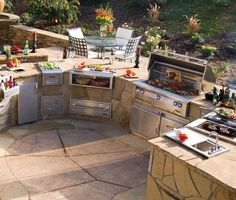 Outdoor Grill Construction and Outdoor Kitchen Design - Oklahoma Barbeque Backyard Kitchen, Outdoor Kitchen Design, Outdoor Kitchens, Patio Design, Kitchen Grill, Summer Kitchen, Backyard Bbq, Mud Kitchen, Stone Kitchen