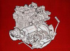 Cutaway view of the 1973 Kawasaki Z1 900 engine.