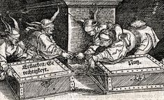 Hans Weiditz - Four fools striving to separate honesty & justice (the box on the left) from profit (the box on the right). Illustration to Cicero's Officia (1531).