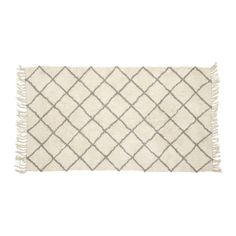 Cotton Rug with Grey & White Pattern