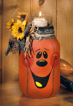 Craft Ideas : Projects : Jack O' Lantern Candle Jar ~ Transform a mayonnaise jar into the cutest, most unique jack-o'-lantern on the block! Unlike the carved variety, you'll enjoy this delightful decoration for years to come. Diy Halloween, Adornos Halloween, Halloween Decorations, Fall Decorations, Wine Bottle Crafts, Mason Jar Crafts, Mason Jar Diy, Wine Bottles, Fall Mason Jars