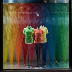 "GANT 1949, Regent Street, London, UK, ""Keep looking up..... There may be a rainbow waiting for you"", (Composing over 10.000 individual cotton strands), creative by Harlequin Design,UK, pinned by Ton van der Veer"