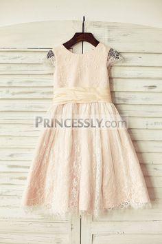 Princessly.com-K1000190-Blush Pink Satin Ivory Lace Cap Sleeves Flower Girl Dress with peach sash-31