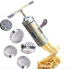 Noodle Maker Pasta Tools Stainless Steel Spaetzle Makers DIY Pasta Tools Kitchen Juicer Tools With 5 Moulds Free Drop Shipping #Affiliate