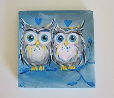 Original Owl Painting True Blue Love Owls 5x5 Art Canvas