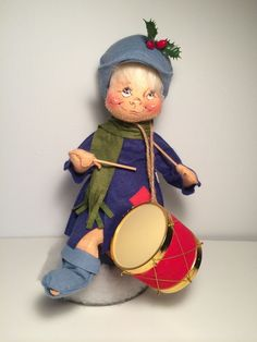 Vtg 1971 Annalee Mobiltree 12 in Blue Drummer Boy Meredith New Hampshire USA  22.99