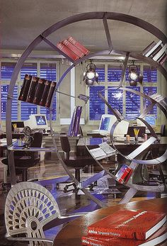 Green Office with Room Divider Bookworm Mortal Coil by Ron Arad
