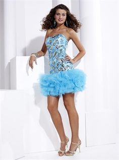.Strapless Sequin Layered Light Sky Short Prom Dress PD1290 www.simpledresses.co.uk £75.0000