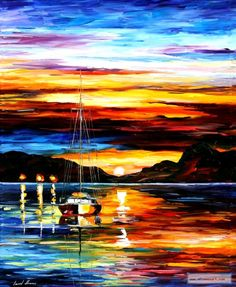 DROWNED SUNSET — PALETTE KNIFE Oil Painting On Canvas By Leonid Afremov.