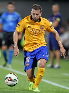 Jordi Alba of FC Barcelona in action during the preseason friendly match between ACF Fiorentina and FC Barcelona at Artemio Franchi on August 2, 2015 in Florence, Italy.