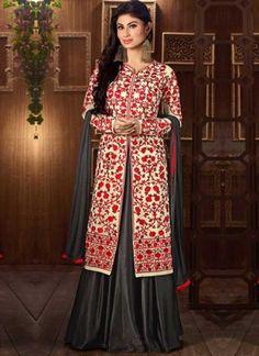 Mouni Roy Beige Grey Embroidery Work Georgette Designer Long Anarkali Suit         #Anarkali #Churidar #Pakistani #Suit #Salwar #Bollywood       http://www.angelnx.com/Salwar-Kameez