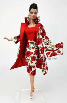 Red Rose Designer Vintage Repro Dress Outfit Barbie Silkstone Fashion Royalty FR #Eaki #ClothingOnlyDollNotIncluded