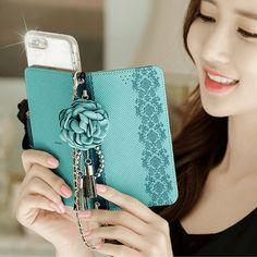 Full Set :  Shirring Object Wallet Case + Peony Flower Strap + Iris Hand Chain - Blush
