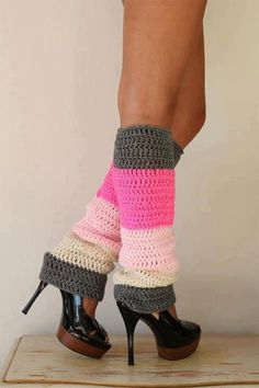 Color Block Leg Warmers in Pink and Gray : Mademoiselle Mermaid