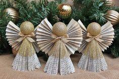 Articoli simili a Ornamento di Angelo, ornamento d'oro, ornamento di Natale, ornamenti di angelo del libro, Set di 3 in oro, su ordinazione su Etsy