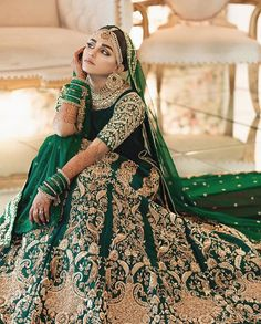 Wedding Outfit Designs & Bridal Styles Trending in 2020 - Witty Vows Indian Wedding Gowns, Green Wedding Dresses, Indian Bridal Outfits, Pakistani Wedding Outfits, Indian Bridal Fashion, Indian Bridal Lehenga, Pakistani Dress Design, Pakistani Wedding Dresses, Pakistani Bridal Couture