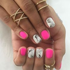 pink + marble nails.