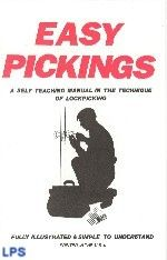 Easy Pickings - Self Teaching Guide to Lock Picking  Easy Pickings is a self teaching manual in the technique of lock picking. Covered in this booklet are the basic types of locks and an overview of different picking methods. Also covered are a wide variety of tools and other picking devices.This is THE most simple to understand beginners guide on the market...great for students of the trade! Fully Illustrated- 24pgs