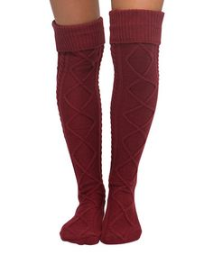 Another great find on #zulily! Burgundy Cable-Knit Over-the-Knee Socks #zulilyfinds