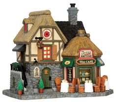 Lemax The Little British Tea Cafe . SKU# 55952. Released in 2015 as a Lighted Building for the Caddington Collection.