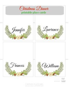 Christmas Dinner Printable Place Cards