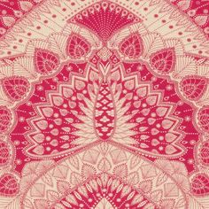 Azari Fabric A showstopping fabric with a large scale stylised evocation of peacock feathers, line drawn and printed in hot pink on a contrasting natural linen ground. Named after a style of Indian architecture.