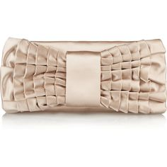 Valentino Bow-embellished satin clutch ($543) ❤ liked on Polyvore featuring bags, handbags, clutches, nude, nude handbags, beige purse, satin purse, embellished handbags and nude purses