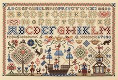 Spot sampler characteristic of 18th century Dutch embroideries - designed by Sandy Orton, expert in adapting old artwork into stitchery.  Sandy has two degrees in fine art & history - this pattern is historically accurate & it is beautiful & I would love to stitch it!