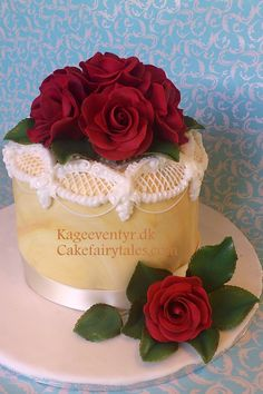 """- This was a birthday cake for my grandmother who turned 89 years:) I did har cake """"wedding style"""" with red roses and Lambeth royal icing technique:)"""