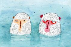 Greeting card  Snow Monkeys by SurfingSloth on Etsy