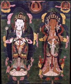 Tibet 1500 - 1599 Uncertain Lineage Ground Mineral Pigment on Cotton Collection of Rubin Museum of Art Vajrayana Buddhism, Thangka Painting, Guardian Angels, Buddhist Art, Sacred Art, Deities, Art Museum, Buddha, Oriental