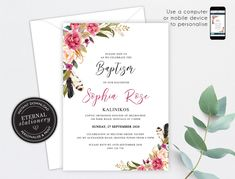 Floral Christening/Baptism Invitation Girl, Baptism, Christening, Editable Template, Printable, Invitation, Baby Girl, watercolour, Abella Baptism Invitations Girl, Girl Baptism, Photo Center, Premium Fonts, Textured Background, Watercolour, Stationery, Printables, Templates