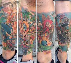 Sonic the Hedgehog themed  tattoo by Joshua Ross at Mind's Eye Tattoo in Emmaus, Pa. https://www.facebook.com/artronin9 #tattoo #tattoos #tattooing #tattooed #love #mindseyetattoo #lehighvalley #Pennsylvania  #allentown  #Emmaus #sonic #sonicthehedgehog #tails #kunckles #drrobotnik