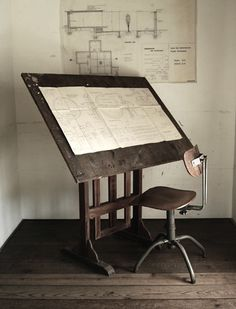 Draft Antique Drafting Table, Drafting Tables, Drafting Desk, Drafting Drawing, Industrial Furniture, Industrial Style, Style Deco, House On A Hill, Ivy House