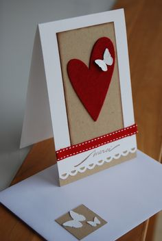 carte de remerciement coeur rouge