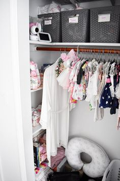 Floral Nursery Reveal - Looking for some nursery inspiration as you begin to nest? Check our little girl Grace's pink, gray, and white nursery reveal. #nurseryinspiration #pinknursery #floralnursery #whitenursery #potterybarnkids #nurseryreveal