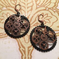 Steampunk Clock Gear Earrings