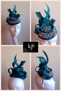 Custom teal and pearl headpiece #millinery #kjmillinery