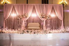 Bright, colorful and absolutely brimming with joy, this lavish traditional Indian wedding was practically pulled right from the pages of a fairytale. Indian Wedding Stage, Wedding Backdrop Design, Wedding Hall Decorations, Wedding Stage Design, Wedding Reception Backdrop, Wedding Mandap, Wedding Receptions, Indian Reception, Desi Wedding Decor