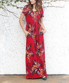 Look what I found on #zulily! Burgundy & Orange Floral Side-Pocket Maxi Dress by éloges #zulilyfinds