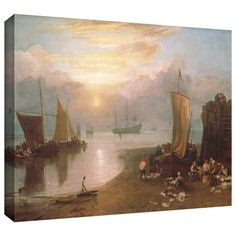 ArtWall William Turner 'Sun Rising Through Vapour, Fisherman Cleaning and Selling Fish' Gallery-wrapped Art