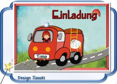 Einladungskarte Kindergeburtstag Feuerwehrauto von Jasuki auf DaWanda.com