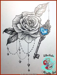 200 Pictures of Female Arm Tattoos for Inspiration - Photos and Tattoos - Flower Tattoo Designs - Rose und Schlüssel Design - Key Tattoo Designs, Design Tattoo, Flower Tattoo Designs, Tattoo Designs For Women, Flower Tattoos, Butterfly Tattoos, Key Tattoos, Body Art Tattoos, Sleeve Tattoos