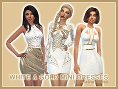 White and Gold Mini Dresses by alainavesna at TSR • Sims 4 Updates