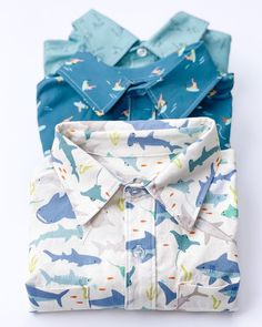 Love the shirts! | Fabric: Riptide by Citrus & Mint Designs for Riley Blake Designs Project Ideas, Projects, Riley Blake, Surfs Up, Clothing Patterns, Mint, Tutorials, Shirt Dress, Fabric