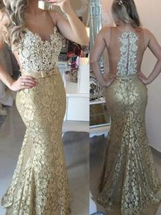 Sheer Illusion Lace Mermaid Prom Dresses 2016 Sleeveless Sweep Train Evening Gowns with Bow Elegant Dresses, Pretty Dresses, Beautiful Dresses, Formal Dresses, Formal Wear, Sexy Dresses, Mermaid Prom Dresses Lace, Prom Dresses 2016, Lace Mermaid