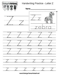 Letter Z writing practice worksheet. This series of handwriting alphabet worksheets can also be cut out to make an original alphabet card or booklet. Alphabet Writing Worksheets, English Worksheets For Kindergarten, Handwriting Practice Worksheets, Printable Preschool Worksheets, Tracing Worksheets, Handwriting Alphabet, Improve Handwriting, Kindergarten Writing, Alphabet Activities